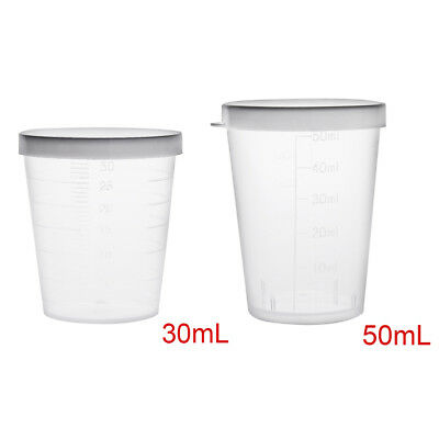 Clear 30ml 50ml PP Plastic Graduated Measuring Cup Lab Kitchen Beaker with Cap