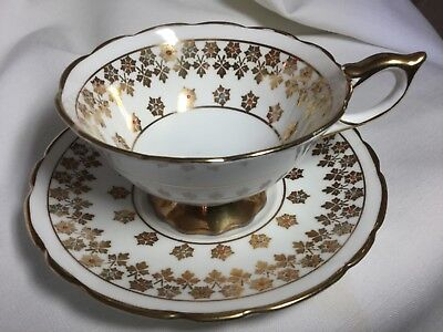 Royal Stafford Bone China Pedestal Cup And Saucer England     White/gold