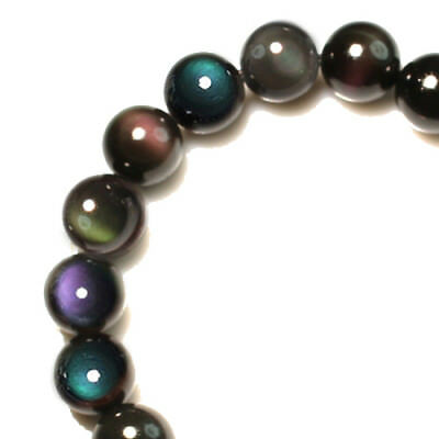 118CT 100% Natural Mexican Rainbow Obsidian Bead Bracelet BROb585