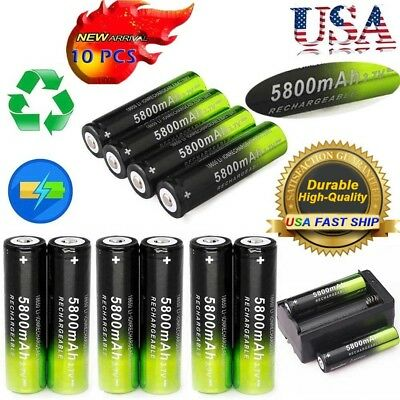 10 SKYWOLFEYE Rechargeable 5800mAh Li-ion 18650 3.7V Battery Dual Smart Charger