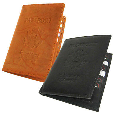 USA PASSPORT COWHIDE LEATHER COVER Travel 8+ Card Case Men Wallet New
