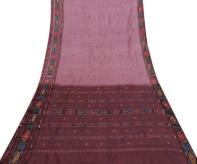 Vintage Indian Mauve Printed Pure Patola Silk Saree Used Sari Craft Fabric 5Yd
