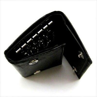 Black Men's Genuine Leather KeyChain Holder Trifold Wallet Key Ring Money Holder