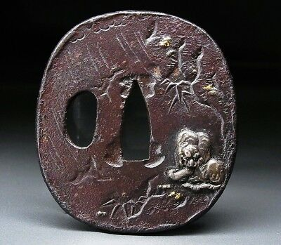 FINE Tiger TSUBA 18-19thC Japanese Edo Antique for Koshirae f282c