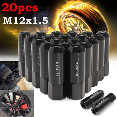 20Pcs Aluminum M12X1.5 60mm Extended Tuner Racing Wheels Rims Lug Nuts