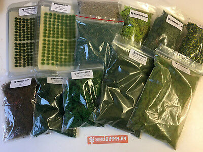 S-P Green Scenery Set -Static Grass Model Terrain Railway Flock Tufts Lichen