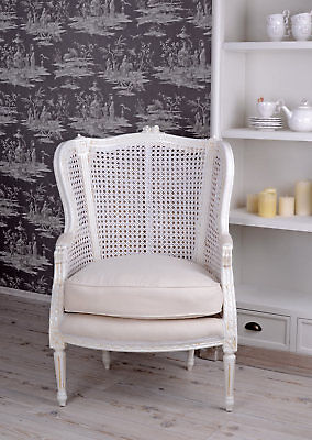 Armchair Baroque white wingchair chair fauteuil rococo upholstered furniture new