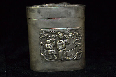 Chinese Collectible Handwork Old TIBET Silver figure flower horse lid falt Box