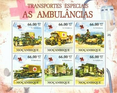 Military & Army AMBULANCES Vehicle & Motorbike Stamp Sheet (2011 Mozambique)