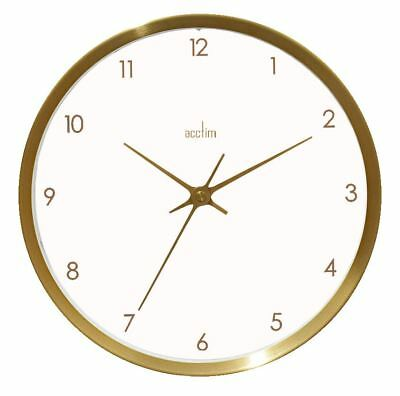 Eadie Design Brushed Gold Effect Wall Clock White Dial 25cm by Acctim