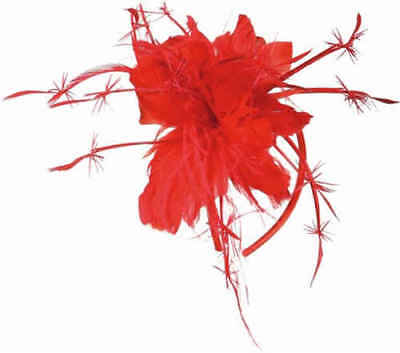 Ladies Red Rose Feather Headpiece Mini Hat 1920s Fancy Dress Costume Outfit