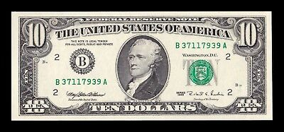 B-D-M Estados Unidos United States of America 10 Dollars 1995 Pick 499L SC UNC