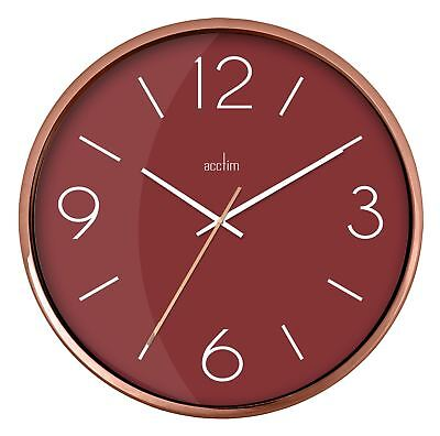 Landon Design Copper Effect Wall Clock with Burgundy Dial 25cm By Acctim