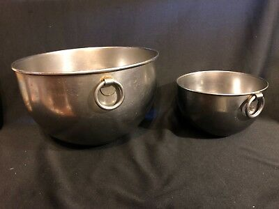 "Vintage Lot of 2 Revere Ware 1801 Stainless Steel Mixing Bowls with ""O"" ring"