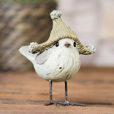 Small Bird in a Woolly Hat Ornament Figurine Statue Figure Home Decoration Gift