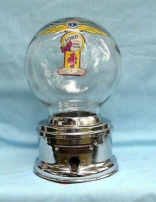 Early  Chrome Glass Globe Penny FORD Gumball  Machine Lions Club