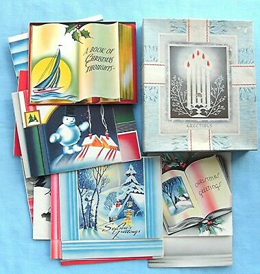 LOT OF 18 VINTAGE HOLIDAY CHRISTMAS CARDS UNUSED 1930-1940's NOS IN BOX