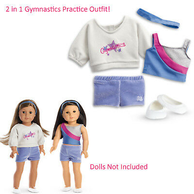"""American Girl TRULY ME 2 IN 1 GYMNASTICS PRACTICE OUTFIT for 18"""" Dolls NEW"""
