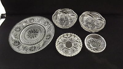 Assorted Lot Of Vintage Cut Glass/Crystal Dishware (5) Pieces