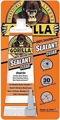 Gorilla Glue 8090001 100 Percent Silicone Sealant Caulk, 2.8 oz., Clear
