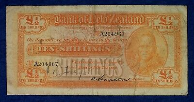 1925 New Zealand Currency 10 Shillings Banknote