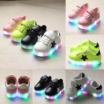 LED RGB Light Up Boys Girls Luminous Sneakers Kids Children Casual Shoes New