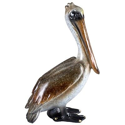 "Brown Pelican Figurine Statue Standing 9"" High Nautical Resin New In Box!"