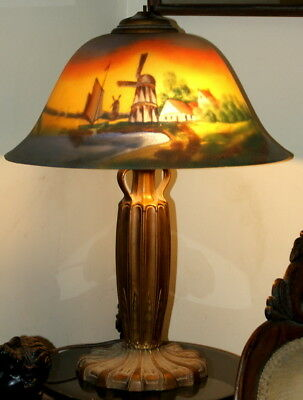 Antique Signed Reverse Painted Glass Table Lamp. Tiffany, Handel Era.