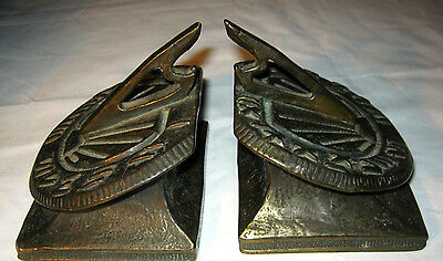 Antique Bronze Clad Architectural Flower Garden Sundial Compass Art Bookends Ny