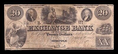 B-D-M United States of America 20 Dollars 1862? Exchange Bank of Virginia