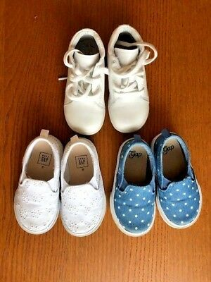Baby Girl Shoes Set of 3 Pairs - 2 Gap Slip Ons, 1 Striderite Sneaker - Size 7