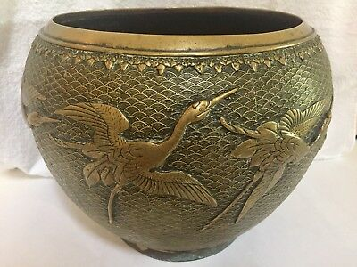 Gorgeous Antique Large Brass Pot Flying Phoenix Birds