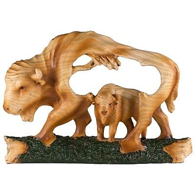 """Bison Buffalo Faux Carved Wood Look Figurine Resin 6.75"""" Long New!"""