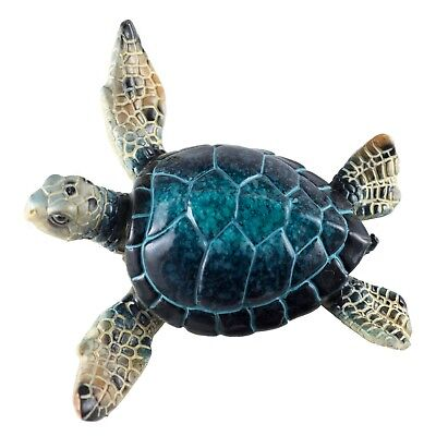 Blue Sea Turtle Figurine 4.25 Inch Wide Resin New!