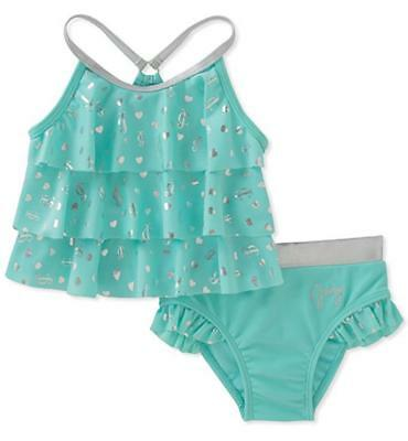 Juicy Couture Girls Mint & Silver 2pc Swimsuit Size 2T 3T 4T 4 5 6 6X 7 8/10 12