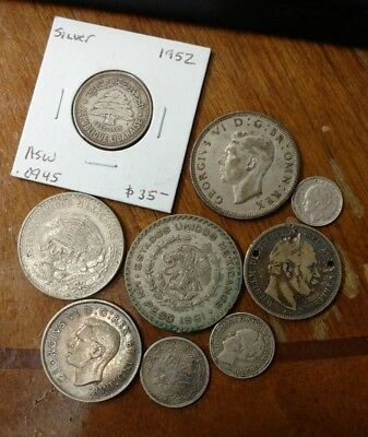 Lot of (9) Antique Silver World Coins Unsorted / Unsearched WOW