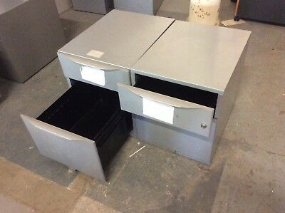 2 x Two Drawer Grey Metal Filing Cabinets