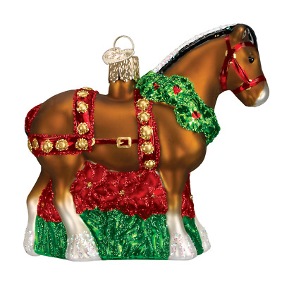 """Holiday Clydesdale"" (12255)X Old World Christmas Glass Ornament w/ OWC Box"
