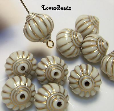 10 Acrylic Fluted beads-Off white with gold-Jewelry-$30 Orders ship for FREE