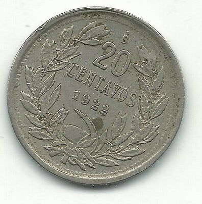 A Very Fine 1922 S Chile 20 Centavos Coin-Defiant Condor On Rock-Jan238