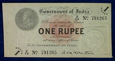 1917 Government of British India Currency 1 Rupee Banknote