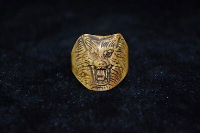 Collectible handwork Culture Style old gift b0ne carve fierce wolf head Ring