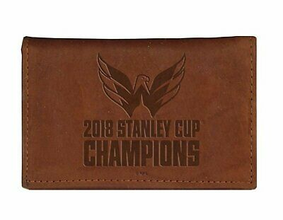 Washington Capitals NHL Embossed Logo Dark Brown Leather Trifold Wallet
