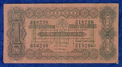 1924 Government of Straits Settlements Currency $1 Dollar Banknote