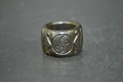 Collectible Chinese handwork  jade carve taichi rare amulet vintage man Ring