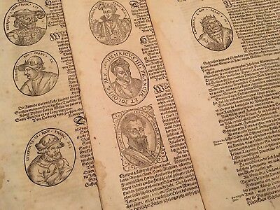 LOT OF ANTIQUE WOODCUTS ca 1400s                       FRENCH KINGS GENEALOGY
