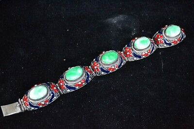 Collectible Chinese handwork tibet silver cloisonne flower inlay jade Bracelet