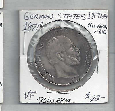 1871A~Sieges Thaler Wilhelm~ Prussia German States~Silver Coin