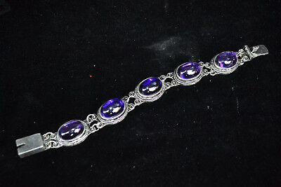 chinese Collectible antique Old tibet silver inlay zircon Carve unique Bracelet