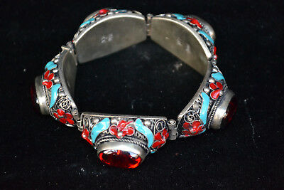 chinese Collectible antique Old cloisonne Carving flower red zircon Bracelet